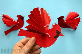 Easy Paper Fan Cardinal Ornament For Christmas How To Make A Bird