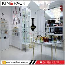 Wholesale Customize Elegant Perfume Display Shelf With Cabinets Design
