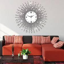 3D Big Wall Clock Modern Design Home Decor Watches Living Room 64pcs Diamonds Decorative Wrought