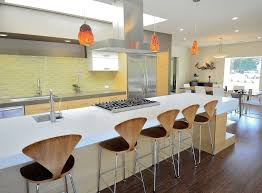heath ceramic tile kitchen midcentury with orange pendant light