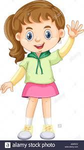 Little girl waving hand illustration