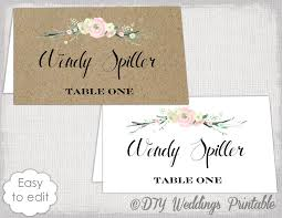 Rustic Place Card Template Flowers Kraft DIY Printable Blush Pink Name Cards YOU