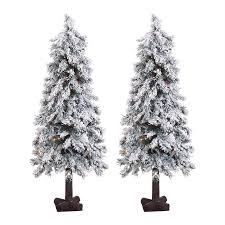 4 Ft Pre Lit Christmas Tree by Shop Fraser Hill Farm 4 Ft Pre Lit Alpine Slim Flocked Rightside