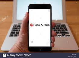 Using iPhone smart phone to display website logo of Bank Austria a