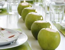 Table Decorating Ideas Spring Summer Green Apples Candle Holders Tealights