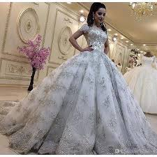 Luxurious Bling Lace Wedding Dresses Plus Size Princess Ball Gowns