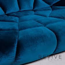 bretz kautsch blau stoff sofa dreisitzer samt 15039