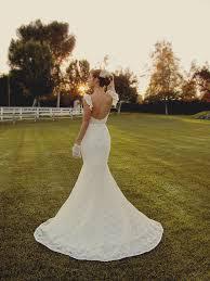 Lace Long Rustic Mermaid Wedding Dress White Fluttering Sleeve