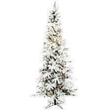 Pre Lit Pencil Christmas Tree Flocked Slim 7 5