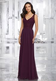 mori lee shown in eggplant chiffon bridesmaids dress with beaded