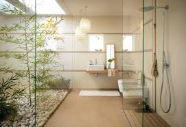 design d intérieur salle de bain zen avec galets et verdure