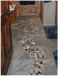 design concept idea for a rustic cabin bathroom tile floor
