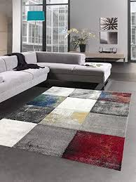 carpetia teppich modern teppich wohnzimmer karo grau gelb gold rot blau größe 120x170 cm