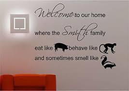 citation sur la cuisine personnalisé famille bienvenue sticker mural salon citation de