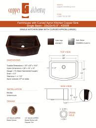 33x22 Copper Kitchen Sink by Farmhouse With Curved Apron Kitchen Copper Sink Single Basin
