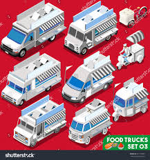 White Van Food Truck Icon Collection Stock Vector (Royalty Free ...