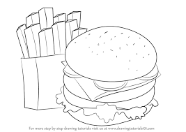 Learn How to Draw Hamburger and Fries Snacks Step by Step Drawing Tutorials