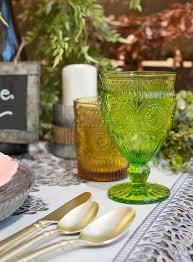Stemmed Drinking Glasses 525 In Vintage Style Goblet Assorted 4 Pk