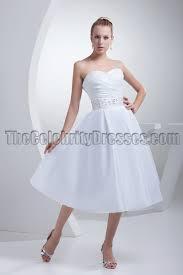 white strapless a line tea length wedding dresses