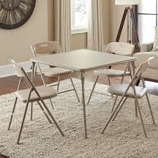 Cosco 5-Piece Folding Table And Chair Set, Antique Linen ...