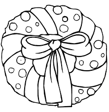 Christmas Coloring Page Wreath With Bow