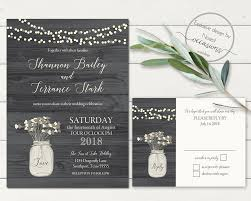 Rustic Mason Jar Wedding Invitation Floral