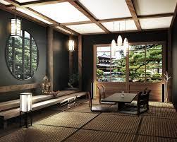 zen wohnzimmer mit tisch katana schwertle und bonsai baum
