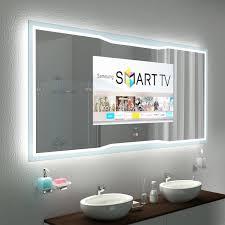 bad spiegel mit tv und glas rahmen reno