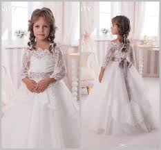 2017 flower girls dresses 3 4 long sleeves bateau lace sash tulle