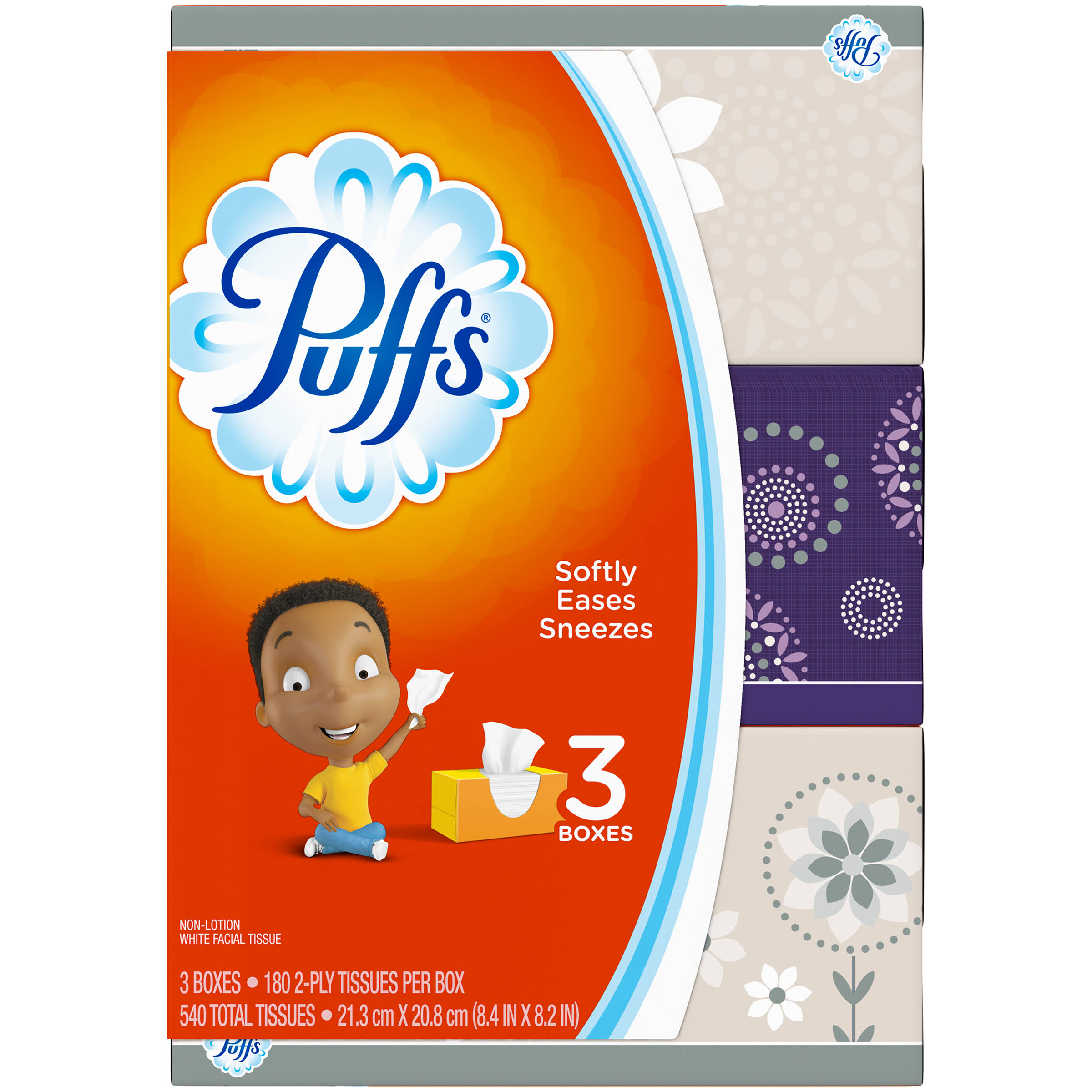 Puffs Non Lotion White Facial Tissue - 180ct, 3pk