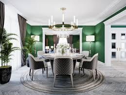 luxuriöses esszimmer in einem großen haus mit einem runden