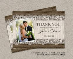 Rustic Thank You Card With Burlap And Lace Printable Wedding Elegant Cards DIY