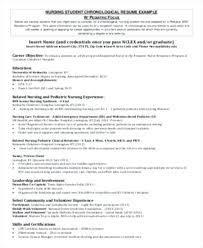 Resume Nursing Student Sample Pre