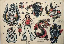 Nice Old School Tattoos Design Set