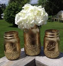 3 Shining Shimmering Gold Painted Mason Jars Vase Vintage Centerpiece Wedding Decor Ball Kerr Rustic
