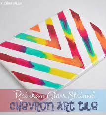 Rainbow Chevron Art Tile Home Decor Craft