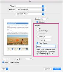 Print Dialog Box With Pages Section Highlighted