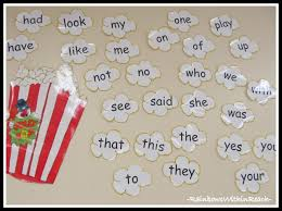 Photo Of Word Wall With Popcorn Theme In Kindergarten From Round