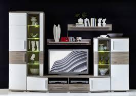 wohnwand wohnzimmer set jam 5 tlg vitrine wandboard tv regal weiß eiche led beleuchtung softclose