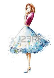 Watercolor Fashion Illustration Hand Painted Stock Photo