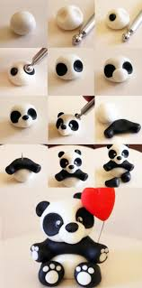 secrets de pâte polymère tutoriel panda et coeur ballon en fimo