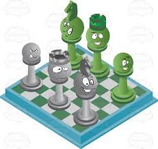 Green And Blue Checkered Chess Board With Pieces