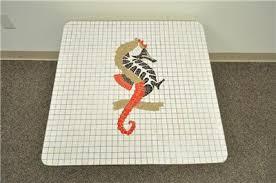 vintage mid century modern seahorse mosaic tile top brass tone