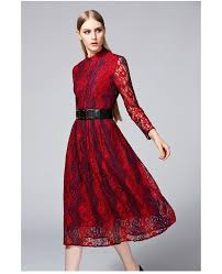 burgundy vintage inspired lace midi dress with long sleeves gemgrace
