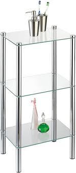 axentia badezimmerregal solanio in silber verchromtes badregal standregal mit drei glasböden maße ca 40 x 30 x 77 cm