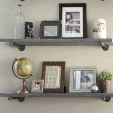 8 Depth Industrial Gray Wash Floating Shelve Graywash Rustic Wall Shelf Wood And