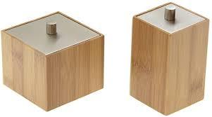 bambus set mit 2 tassen halter mit deckel zum aufbewahren wattestäbchen pads badaccessoires und kleine badezimmer ideas
