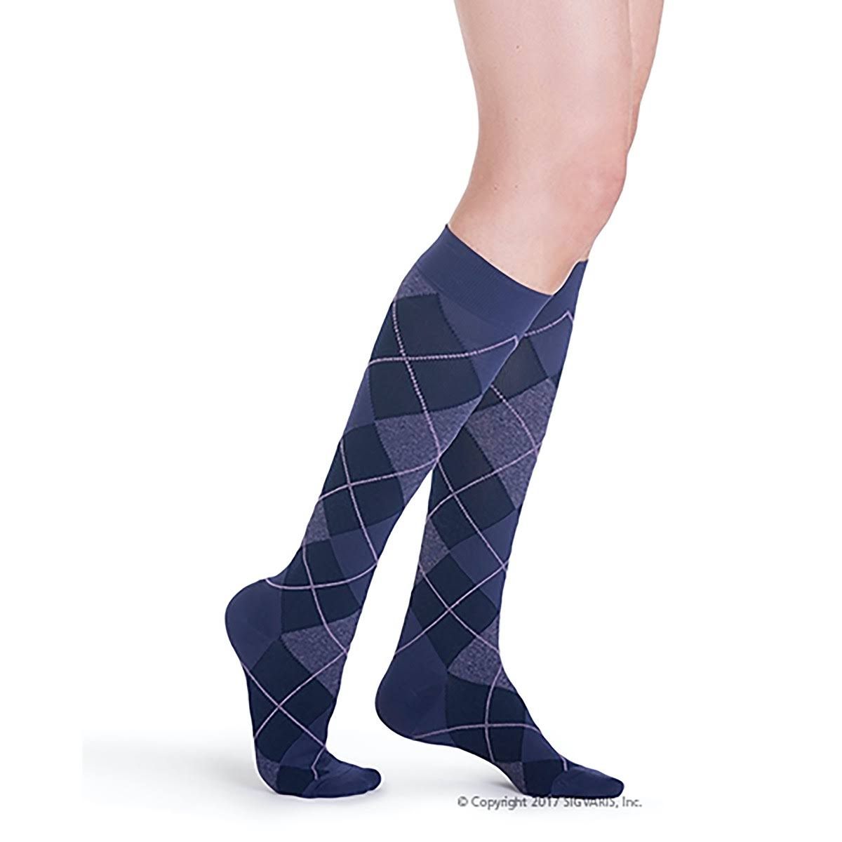 Sigvaris 143c Womens Microfiber Shades Calf High Compression Socks - Purple Argyle Size A