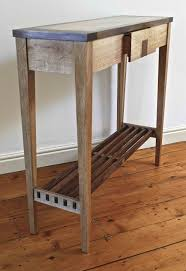 very narrow rustic diy wood console table with drawer and shelves