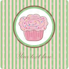 Small pink cupcake inside of round frame over green stripped background Royalty Free Vector Clip Art